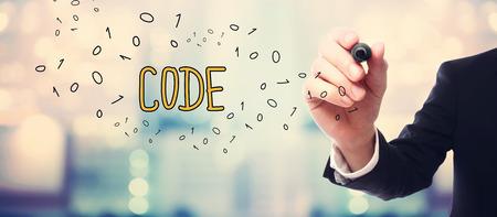 concept Code dessin d'affaires sur fond abstrait flou