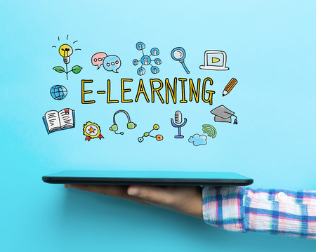 E Learning concept with a tablet on blue background