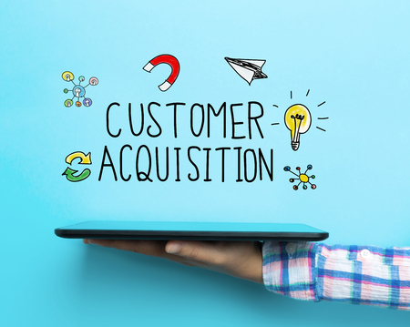 Customer Acquisition concept with a tablet on blue background
