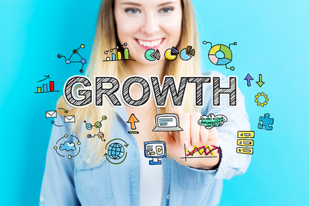 happy business woman: Growth concept with young woman on blue background Stock Photo