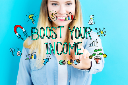 your point: Boost Your Income concept with young woman on blue background