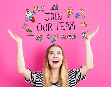 Join Our Team-Konzept mit jungen Frau zu erreichen und nach oben schaut Standard-Bild - 62155857