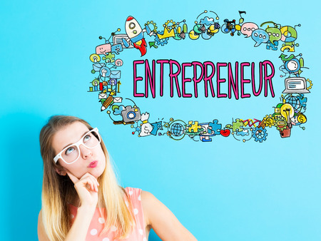 thoughtful: Entrepreneur concept with young woman in a thoughtful pose Stock Photo