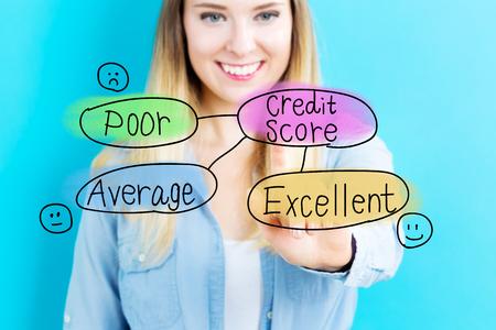 Credit Score-Konzept mit jungen Frau auf blauem Hintergrund