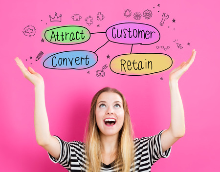 acquisition: Customer Acquisition concept with young woman reaching and looking upwards Stock Photo