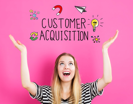 looking upwards: Customer Acquisition concept with young woman reaching and looking upwards Stock Photo