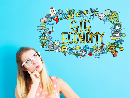 gig: Gig Economy concept with young woman in a thoughtful pose Stock Photo