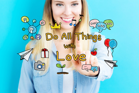 Do All Things with Love concept with young woman on blue background
