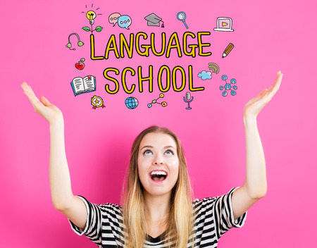 top class: Language School concept with young woman reaching and looking upwards