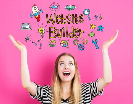 looking upwards: Website Builder concept with young woman reaching and looking upwards