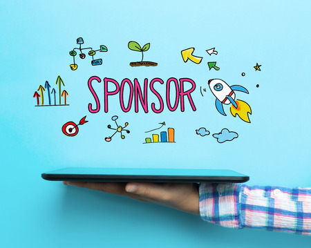 Sponsor concept with a tablet on blue background