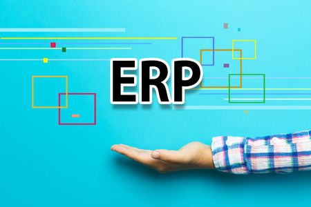 ERP concept with hand on blue background