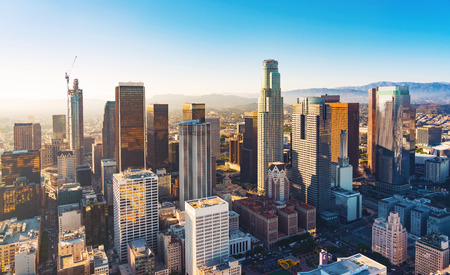 Aerial view of a Downtown Los Angeles at sunset Archivio Fotografico