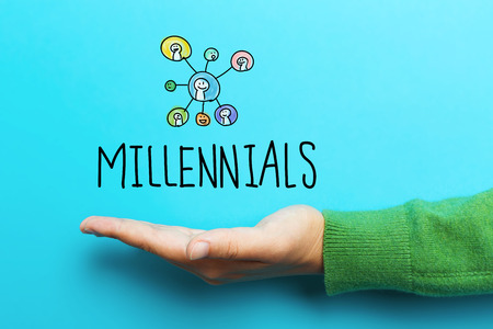 Millennials concept with hand on blue background