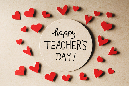 Happy Teachers Day message with handmade small paper hearts