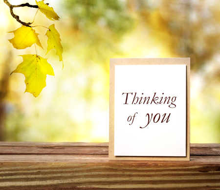 thinking of you: Thinking of you greeting card on autumn leaves background