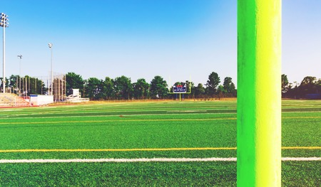 football goal post: American football goal post in an outdoor sports stadium