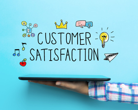 happy customer: Customer Satisfaction concept with a tablet on blue background Stock Photo