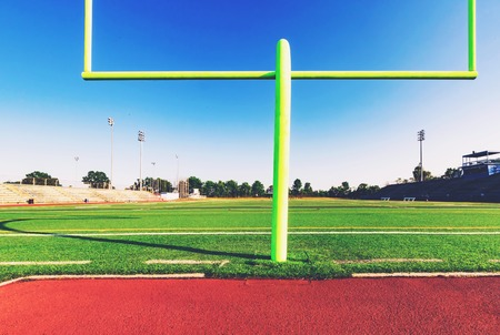 uprights: American football goal post in an outdoor sports stadium