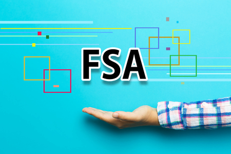 flexible business: FSA concept with hand on blue background Stock Photo