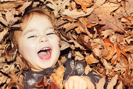 foliage: Happy toddler girl smiling while lying down in big pile of leaves Stock Photo