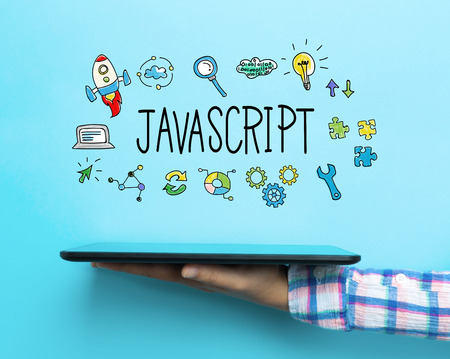 javascript: JavaScript concept with a tablet on blue background Stock Photo
