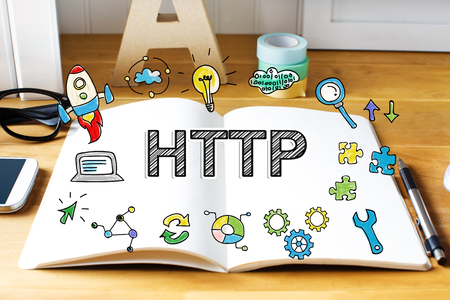 http: Http concept with notebook on wooden desk Stock Photo