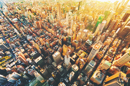 Aerial view of Manhattan New York from Midtown
