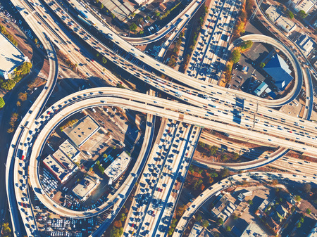 interchange: Aerial view of a massive highway intersection in Los Angeles