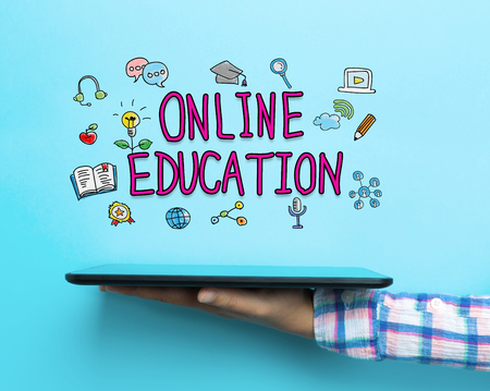 Online Education concept with a tablet on blue background