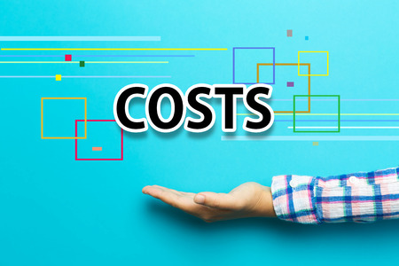 cost savings: Costs concept with hand on blue background Stock Photo