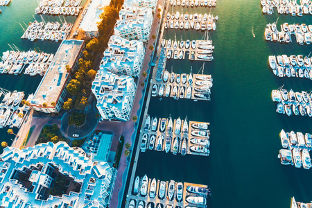 beach view: Aerial view of the Marina del Rey seaside community in Los Angeles