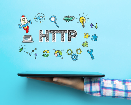 Http concept with a tablet on blue background Stock Photo