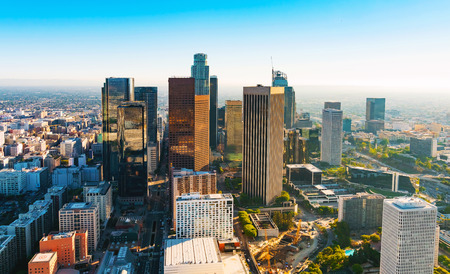 Aerial view of a Downtown Los Angeles at sunset Imagens
