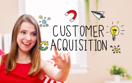 happy people: Customer Acquisition concept with young woman in her home
