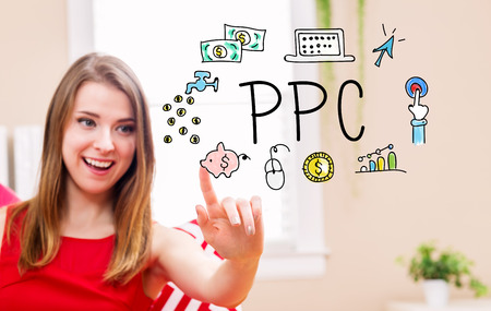 PPC concept with young woman in her home
