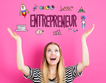 looking upwards: Entrepreneur concept with young woman reaching and looking upwards Stock Photo