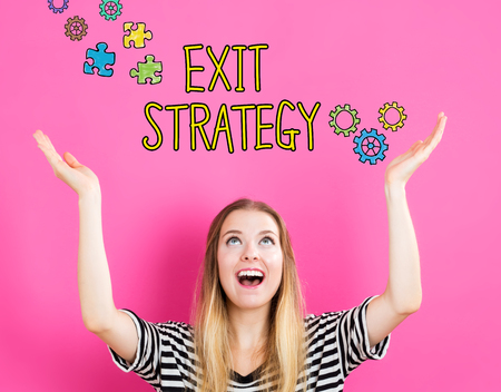 downsizing: Exit Strategy concept with young woman reaching and looking upwards