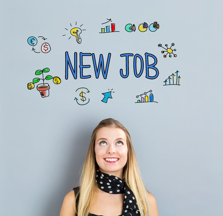 New Job concept with happy young woman on a gray background