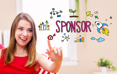 sponsoring: Sponsor concept with young woman in her home Stock Photo
