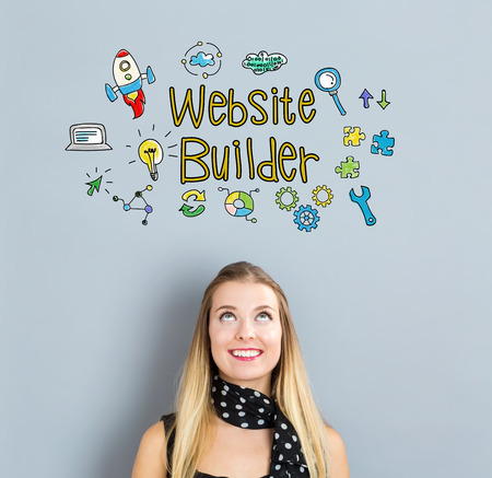 creation of sites: Website Builder concept with happy young woman on a gray background