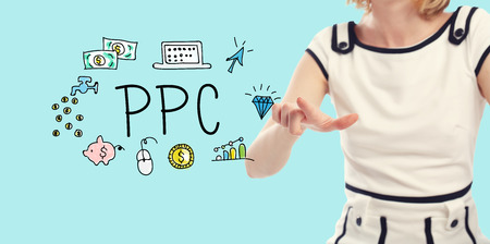 PPC concept with young woman on a blue background