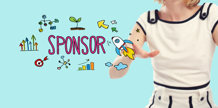 Sponsor concept with young woman on a blue background