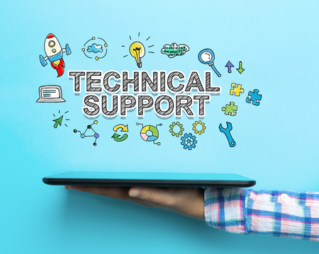 Technical Support concept with a tablet on blue background
