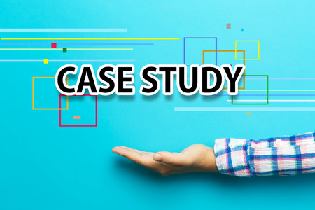 case: Case Study concept with hand on blue background Stock Photo