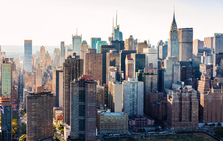 Luchtfoto van de skyline van New York City in de buurt van Midtown