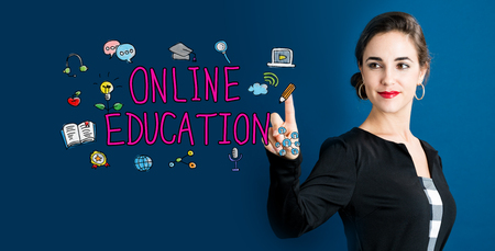 Online Education concept with business woman on a dark blue background