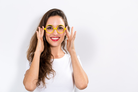 woman  glasses: Happy young woman on a white background