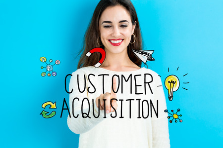 acquisition: Customer Acquisition concept with young woman on blue background