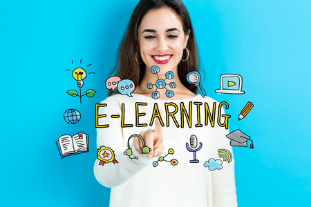 E-Learning concept with young woman on blue background Stock Photo